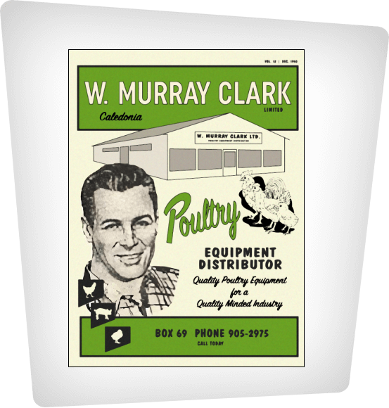 A shot of the cover of the 1950s W. Murrray Clark Poultry Equipment Distributor Product Catalouge